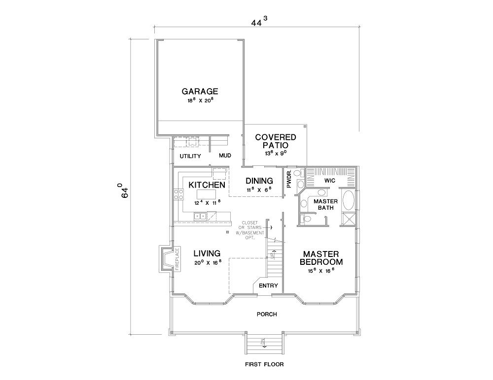 1st Floor Plan image of The Maybelle House Plan